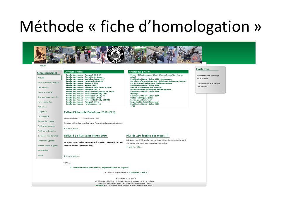 Méthode « fiche dhomologation »