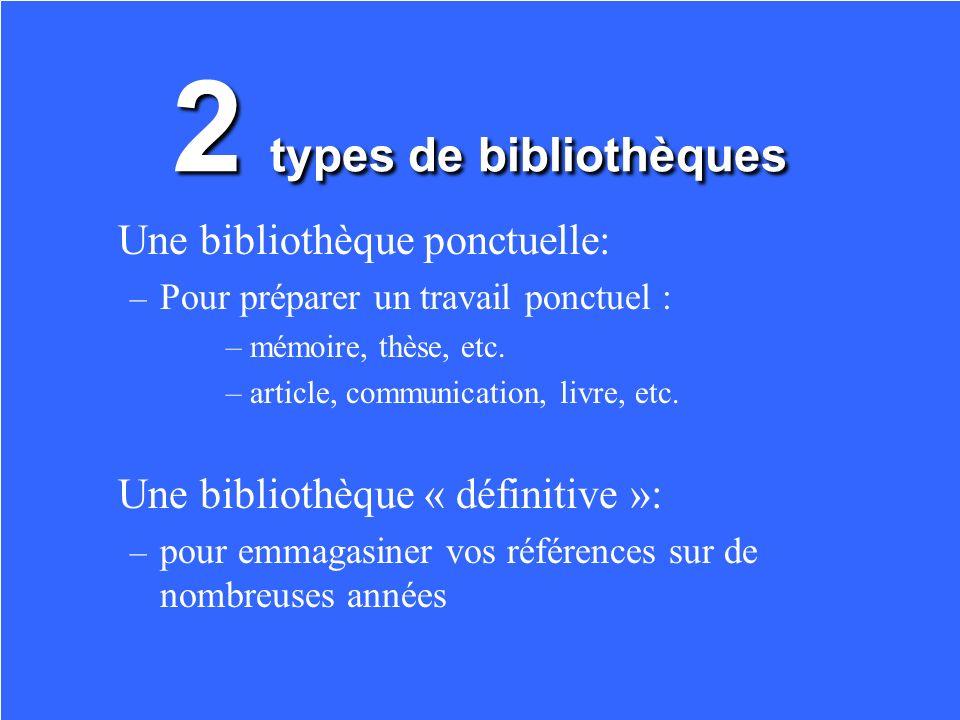 Créer une bibliothèque: Entrer des références bibliographiques
