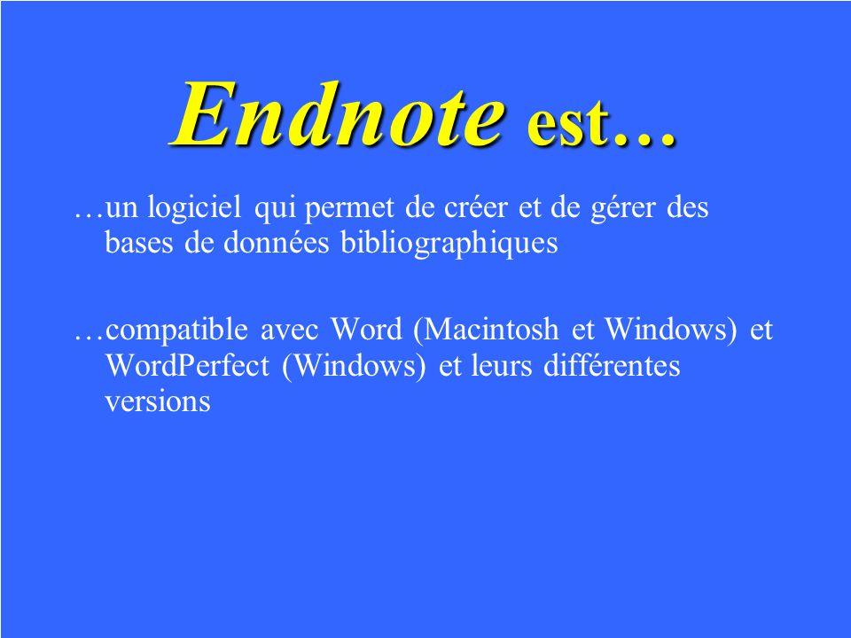 Endnote est… …un logiciel qui permet de créer et de gérer des bases de données bibliographiques …compatible avec Word (Macintosh et Windows) et WordPerfect (Windows) et leurs différentes versions