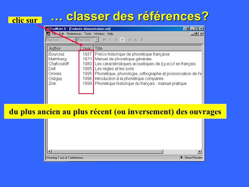 … classer des références clic sur dans lordre alphabétique des noms des auteurs