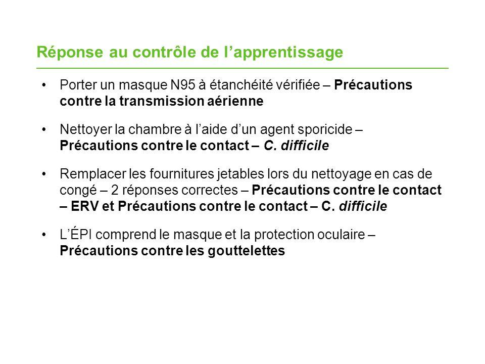 Réponse au contrôle de lapprentissage Porter un masque N95 à étanchéité vérifiée – Précautions contre la transmission aérienne Nettoyer la chambre à laide dun agent sporicide – Précautions contre le contact – C.