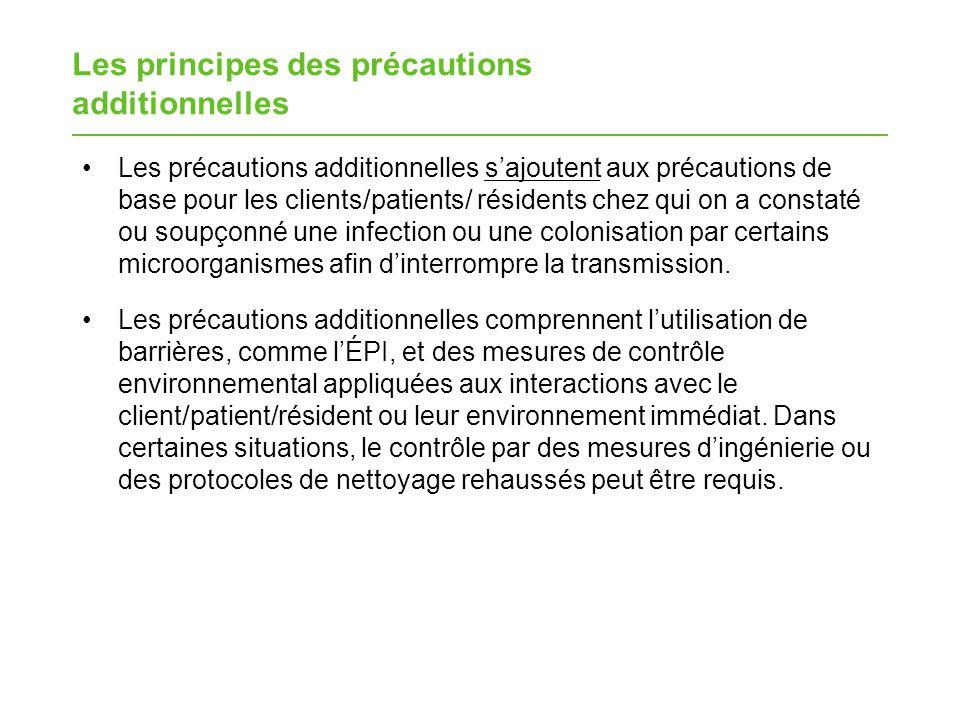 Les principes des précautions additionnelles Les précautions additionnelles sajoutent aux précautions de base pour les clients/patients/ résidents che