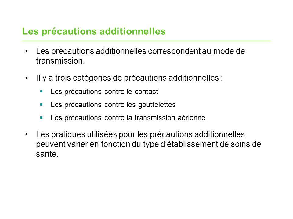 Les éléments des précautions additionnelles Communications Limitation du transport Équipement assigné et mesures de précaution additionnelles Barrières Accommodements et affichage spécialisés Pratiques de base