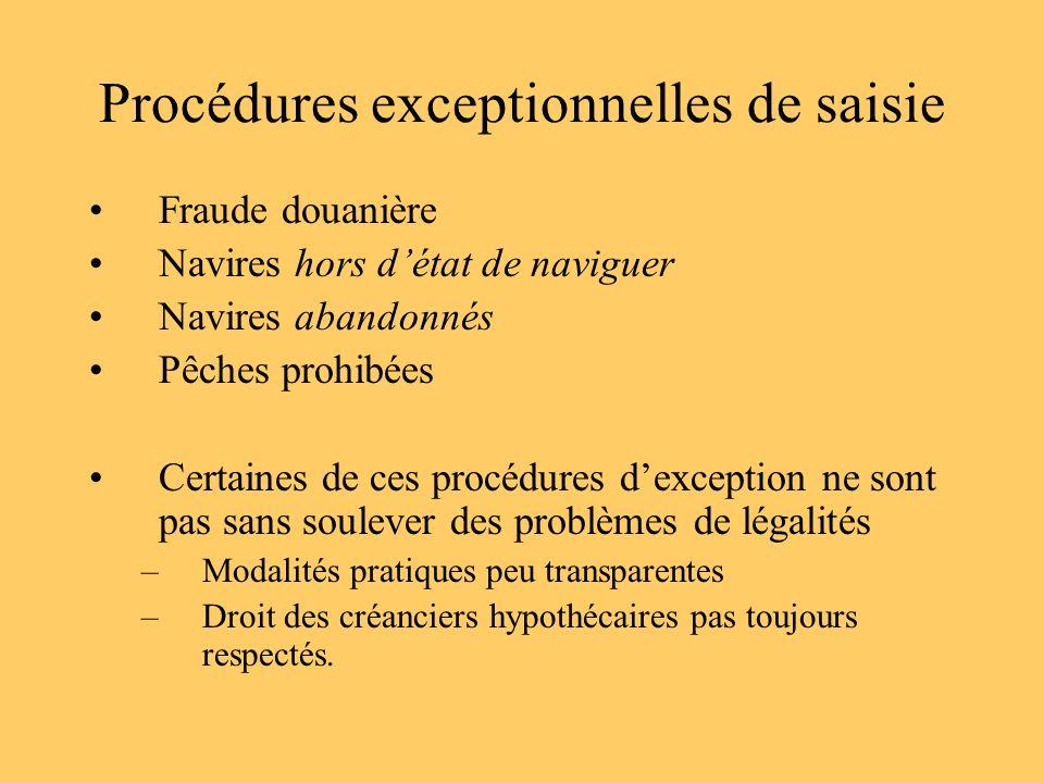 Procédures exceptionnelles de saisie Fraude douanière Navires hors détat de naviguer Navires abandonnés Pêches prohibées Certaines de ces procédures d