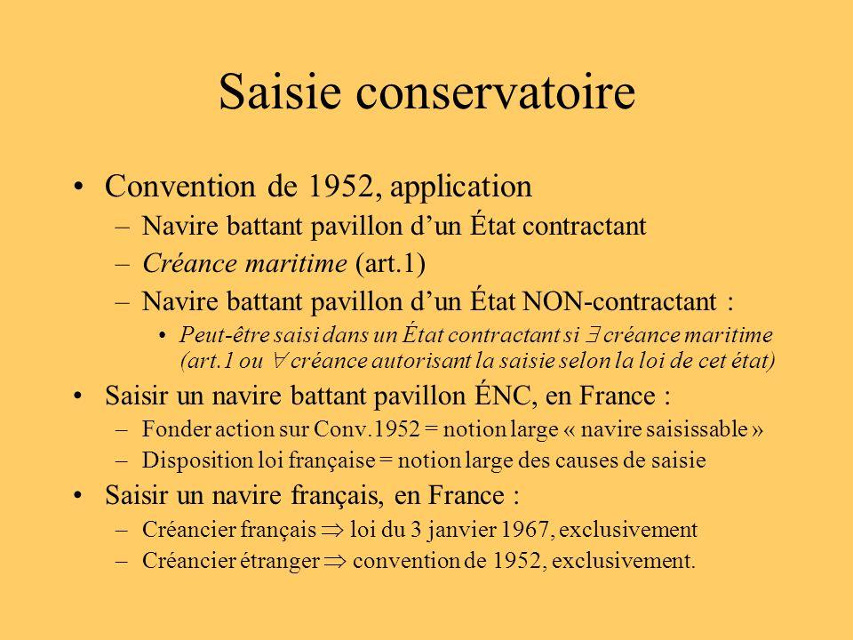 Saisie conservatoire Convention de 1952, application –Navire battant pavillon dun État contractant –Créance maritime (art.1) –Navire battant pavillon