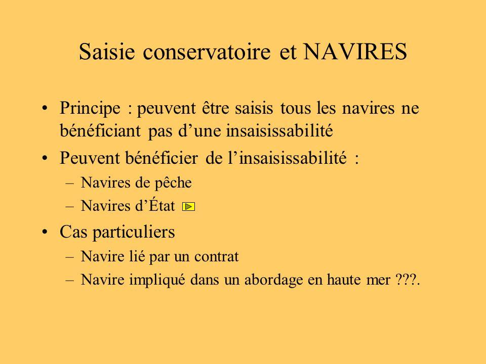 Saisie conservatoire et NAVIRES Principe : peuvent être saisis tous les navires ne bénéficiant pas dune insaisissabilité Peuvent bénéficier de linsais