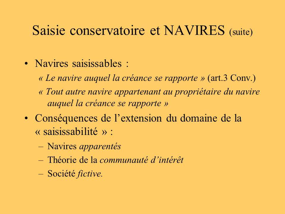 Saisie conservatoire et NAVIRES (suite) Navires saisissables : « Le navire auquel la créance se rapporte » (art.3 Conv.) « Tout autre navire appartena