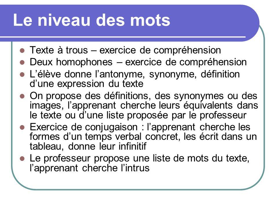 Texte à trous – exercice de compréhension Deux homophones – exercice de compréhension Lélève donne lantonyme, synonyme, définition dune expression du