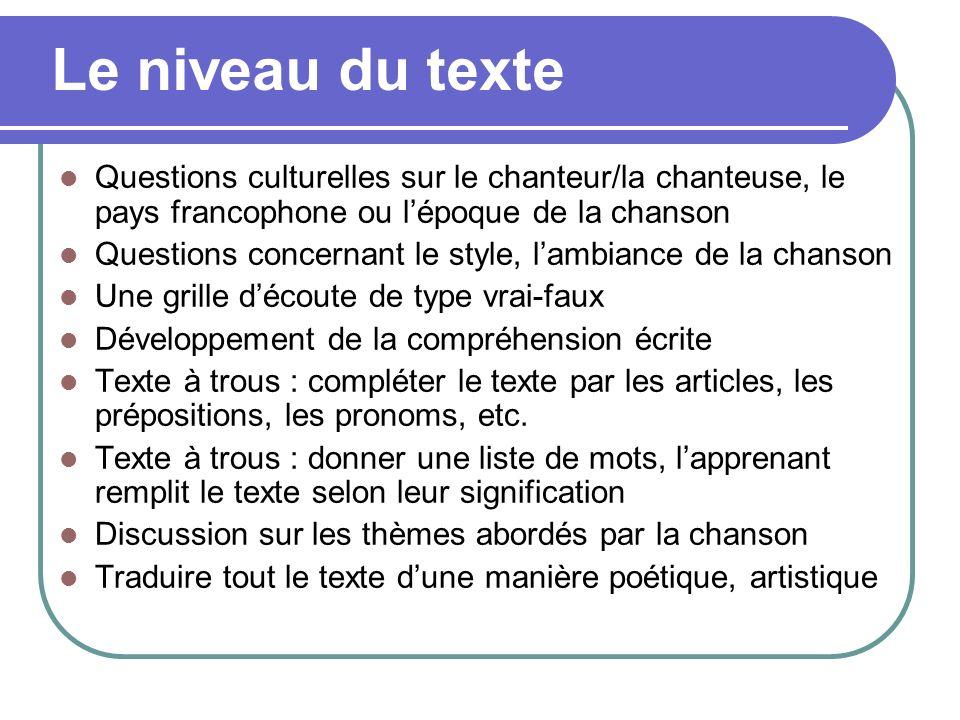 Questions culturelles sur le chanteur/la chanteuse, le pays francophone ou lépoque de la chanson Questions concernant le style, lambiance de la chanso