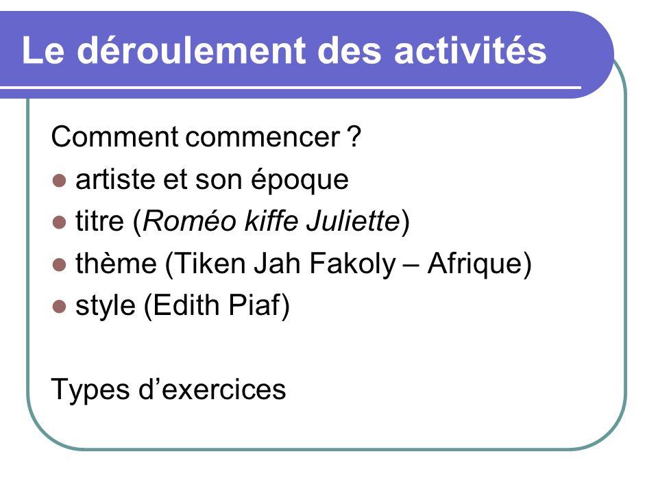 Le déroulement des activités Comment commencer ? artiste et son époque titre (Roméo kiffe Juliette) thème (Tiken Jah Fakoly – Afrique) style (Edith Pi