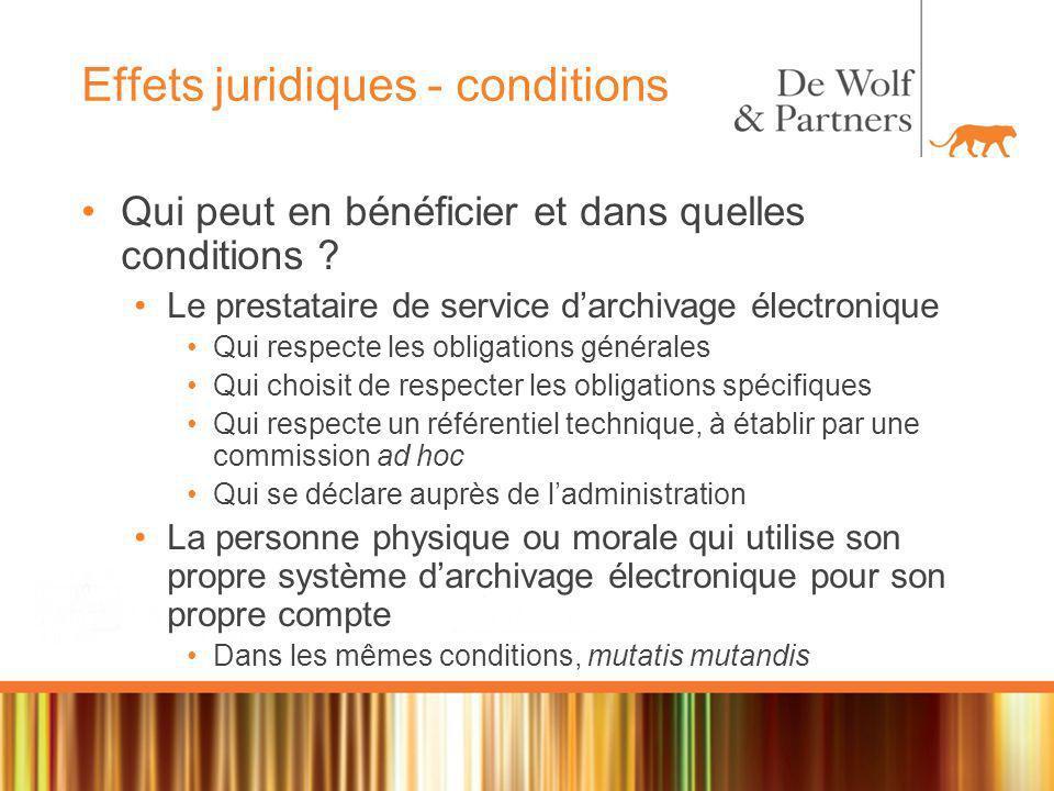 Effets juridiques - conditions Qui peut en bénéficier et dans quelles conditions .