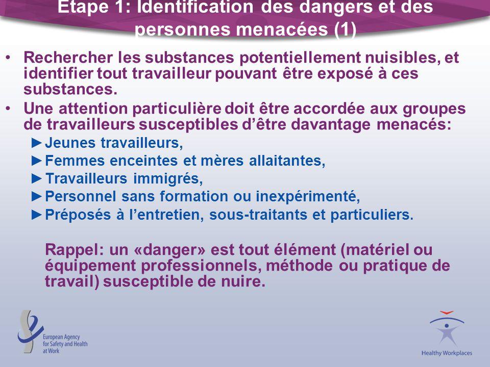 Étape 1: Identification des dangers et des personnes menacées (1) Rechercher les substances potentiellement nuisibles, et identifier tout travailleur pouvant être exposé à ces substances.