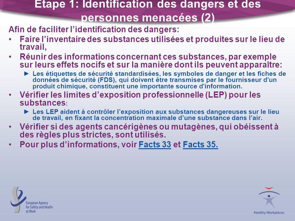 Étape 1: Identification des dangers et des personnes menacées (2) Afin de faciliter lidentification des dangers: Faire linventaire des substances util