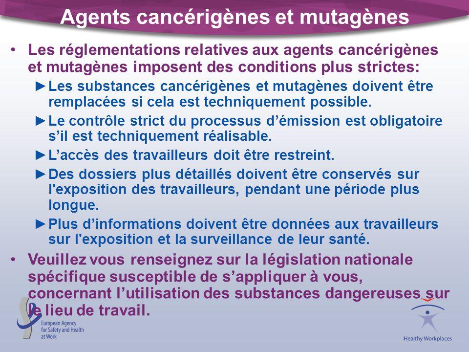 Agents cancérigènes et mutagènes Les réglementations relatives aux agents cancérigènes et mutagènes imposent des conditions plus strictes: Les substan