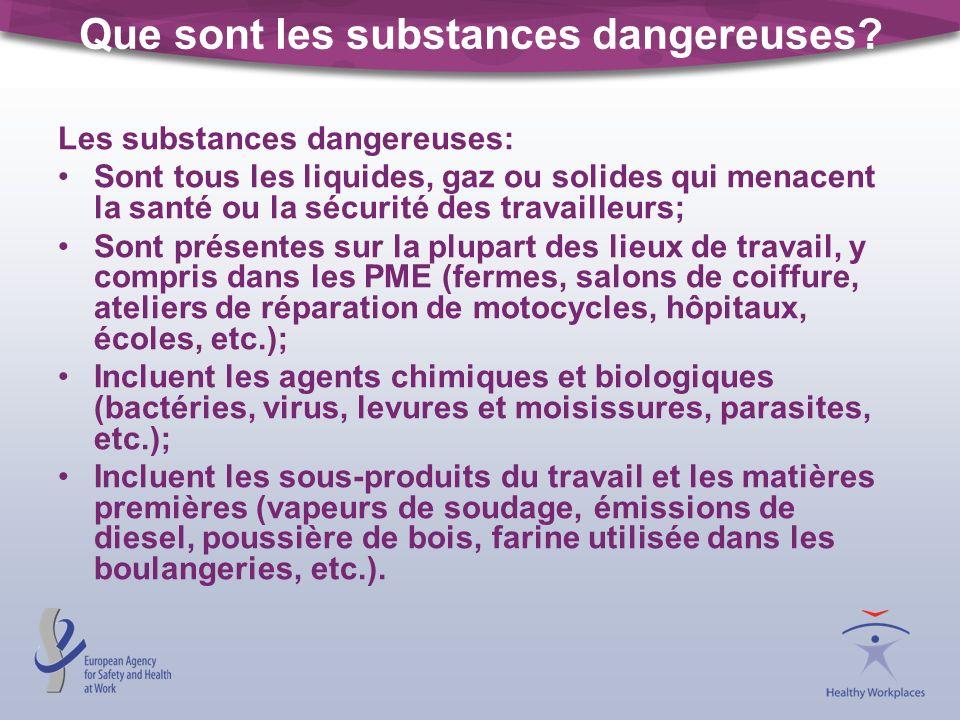 Que sont les substances dangereuses? Les substances dangereuses: Sont tous les liquides, gaz ou solides qui menacent la santé ou la sécurité des trava