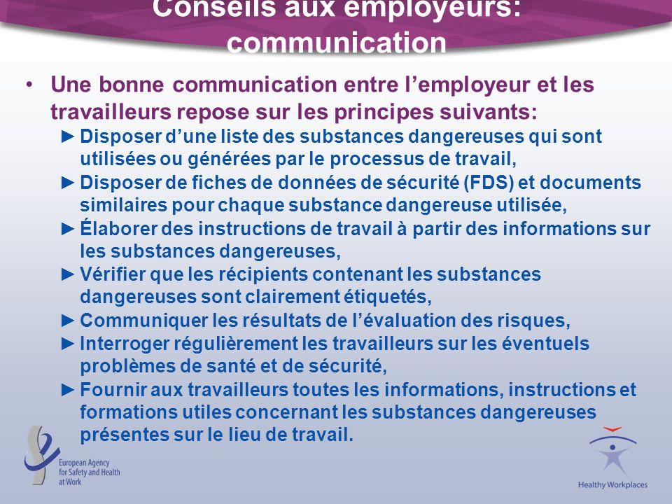 Conseils aux employeurs: communication Une bonne communication entre lemployeur et les travailleurs repose sur les principes suivants: Disposer dune l
