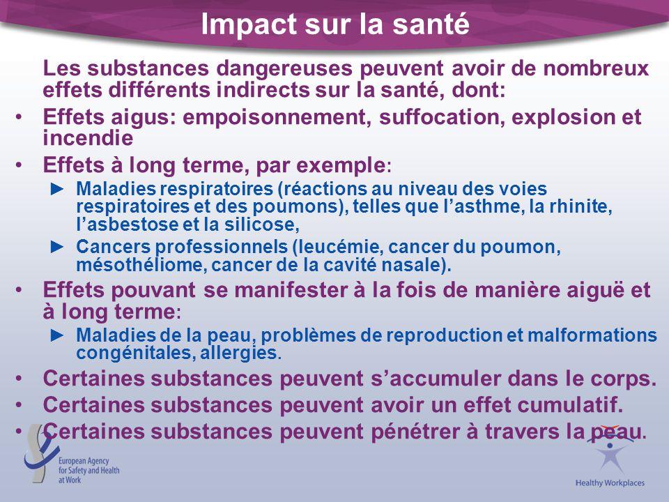 Impact sur la santé Les substances dangereuses peuvent avoir de nombreux effets différents indirects sur la santé, dont: Effets aigus: empoisonnement,