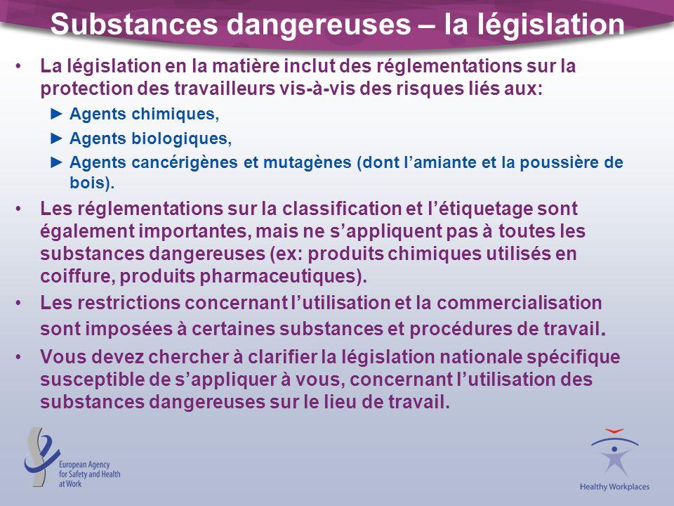 Substances dangereuses – la législation La législation en la matière inclut des réglementations sur la protection des travailleurs vis-à-vis des risques liés aux: Agents chimiques, Agents biologiques, Agents cancérigènes et mutagènes (dont lamiante et la poussière de bois).