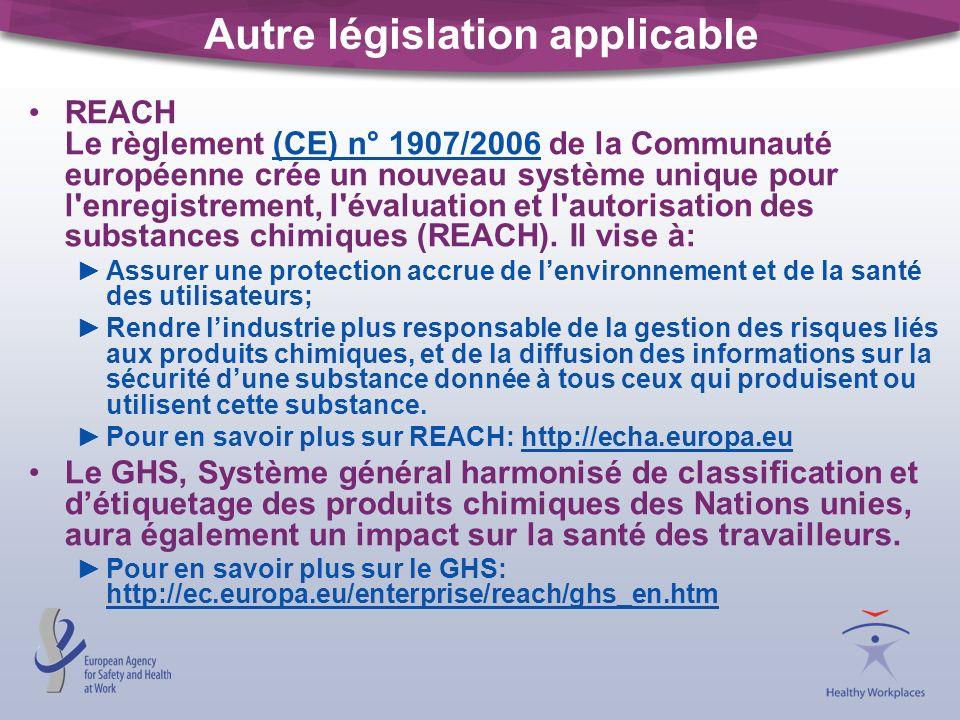 Autre législation applicable REACH Le règlement (CE) n° 1907/2006 de la Communauté européenne crée un nouveau système unique pour l'enregistrement, l'
