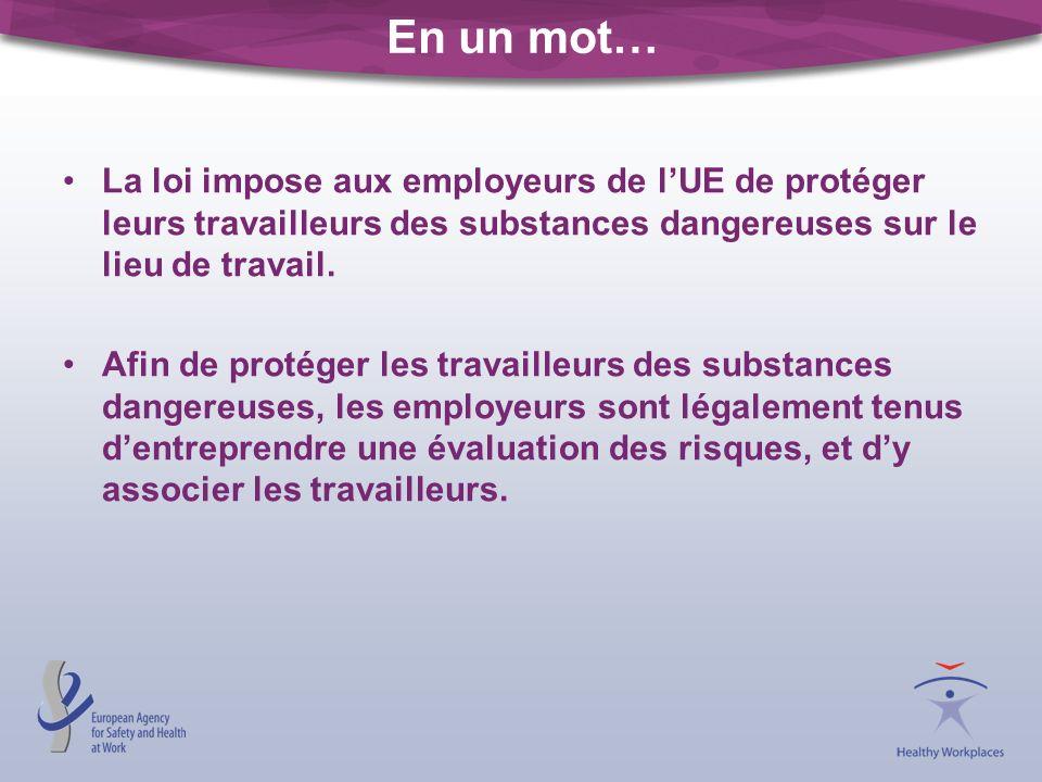 La loi impose aux employeurs de lUE de protéger leurs travailleurs des substances dangereuses sur le lieu de travail. Afin de protéger les travailleur