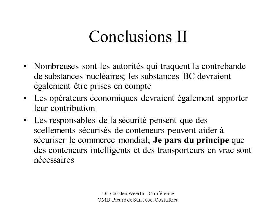 Dr. Carsten Weerth – Conférence OMD-Picard de San Jose, Costa Rica Conclusions II Nombreuses sont les autorités qui traquent la contrebande de substan