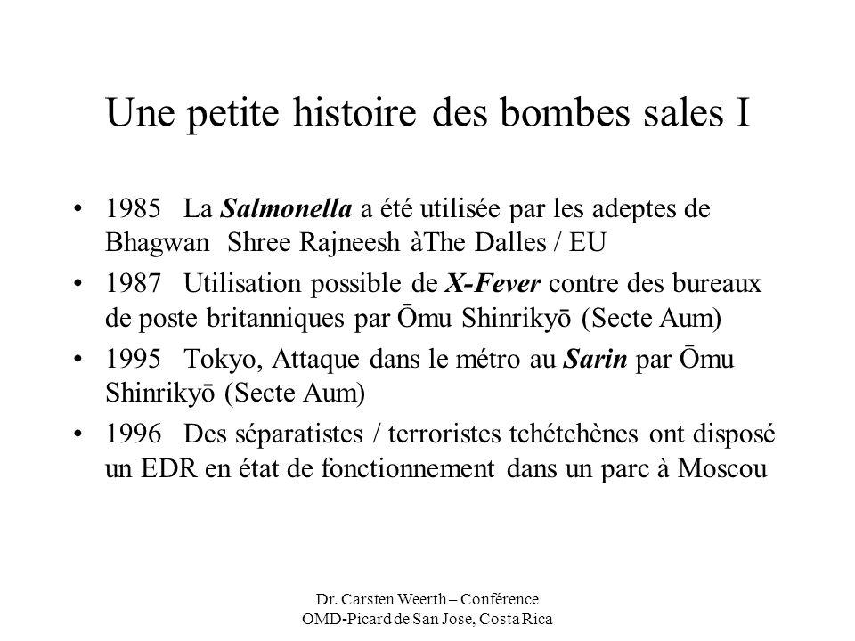 Dr. Carsten Weerth – Conférence OMD-Picard de San Jose, Costa Rica Une petite histoire des bombes sales I 1985 La Salmonella a été utilisée par les ad