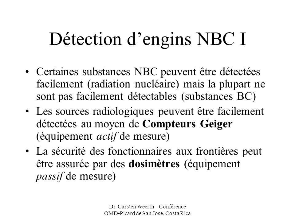 Dr. Carsten Weerth – Conférence OMD-Picard de San Jose, Costa Rica Détection dengins NBC I Certaines substances NBC peuvent être détectées facilement