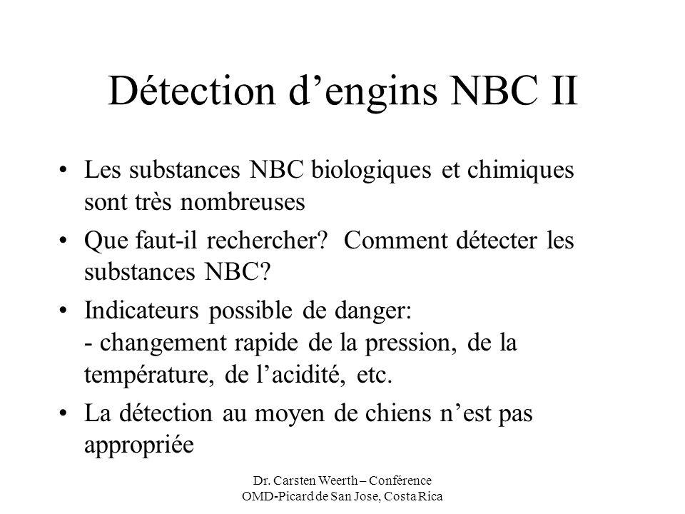 Dr. Carsten Weerth – Conférence OMD-Picard de San Jose, Costa Rica Détection dengins NBC II Les substances NBC biologiques et chimiques sont très nomb
