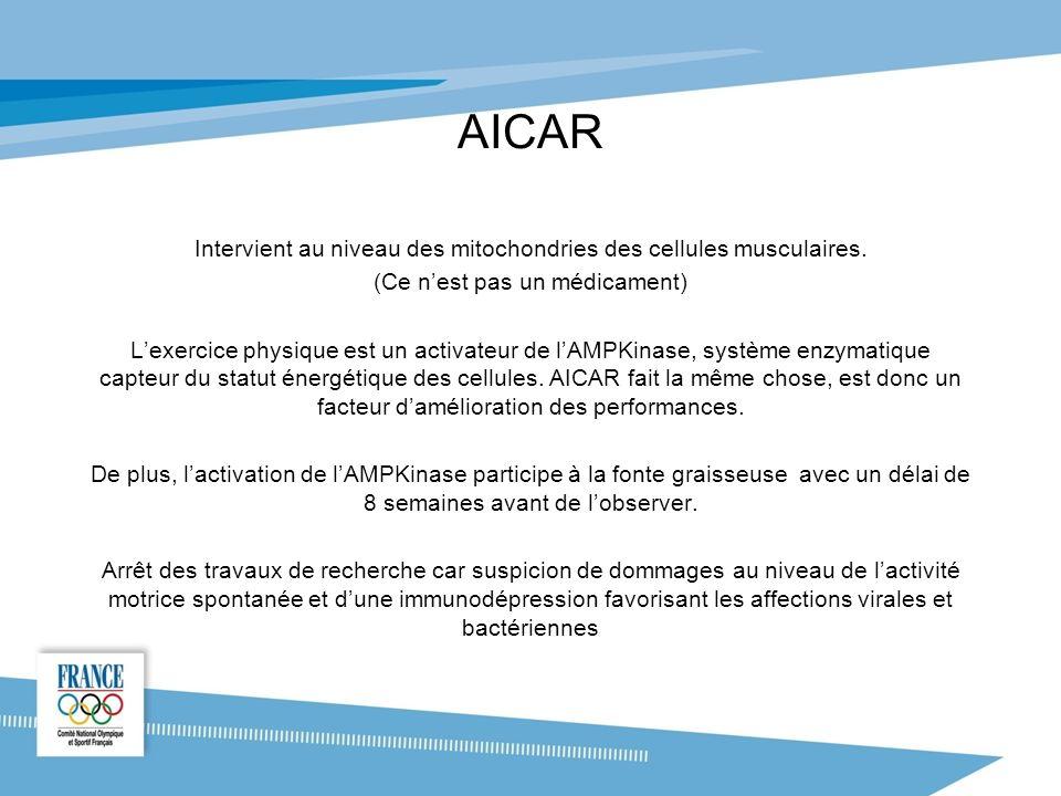 AICAR Intervient au niveau des mitochondries des cellules musculaires.
