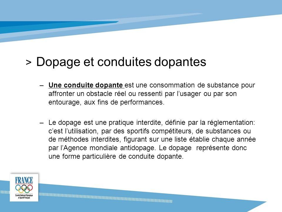 > Dopage et conduites dopantes –Une conduite dopante est une consommation de substance pour affronter un obstacle réel ou ressenti par lusager ou par son entourage, aux fins de performances.