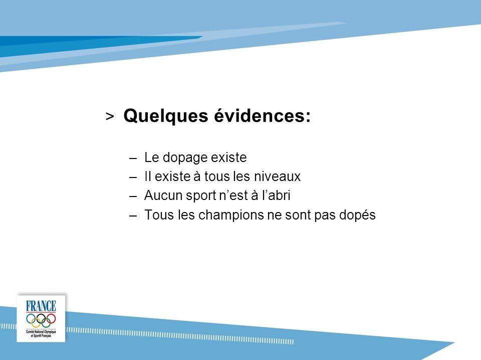 > Quelques évidences: –Le dopage existe –Il existe à tous les niveaux –Aucun sport nest à labri –Tous les champions ne sont pas dopés