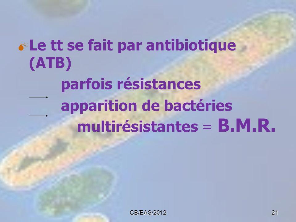 Le tt se fait par antibiotique (ATB) parfois résistances apparition de bactéries multirésistantes = B.M.R. 21CB/EAS/2012
