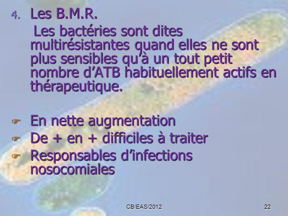 4. Les B.M.R. Les bactéries sont dites multirésistantes quand elles ne sont plus sensibles quà un tout petit nombre dATB habituellement actifs en thér