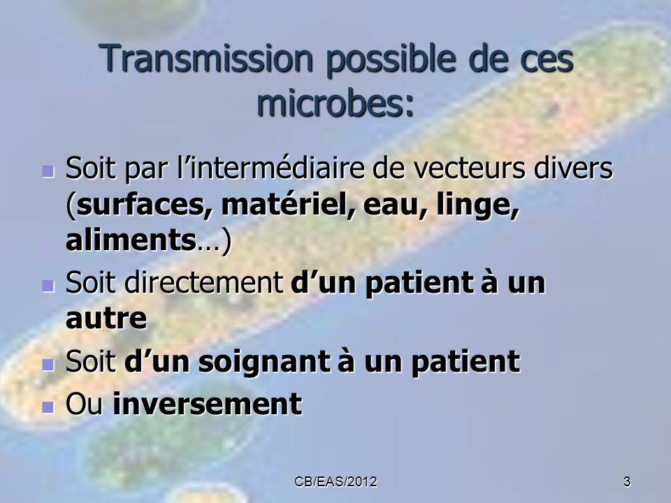 CB/EAS/20123 Transmission possible de ces microbes: Soit par lintermédiaire de vecteurs divers (surfaces, matériel, eau, linge, aliments…) Soit par li
