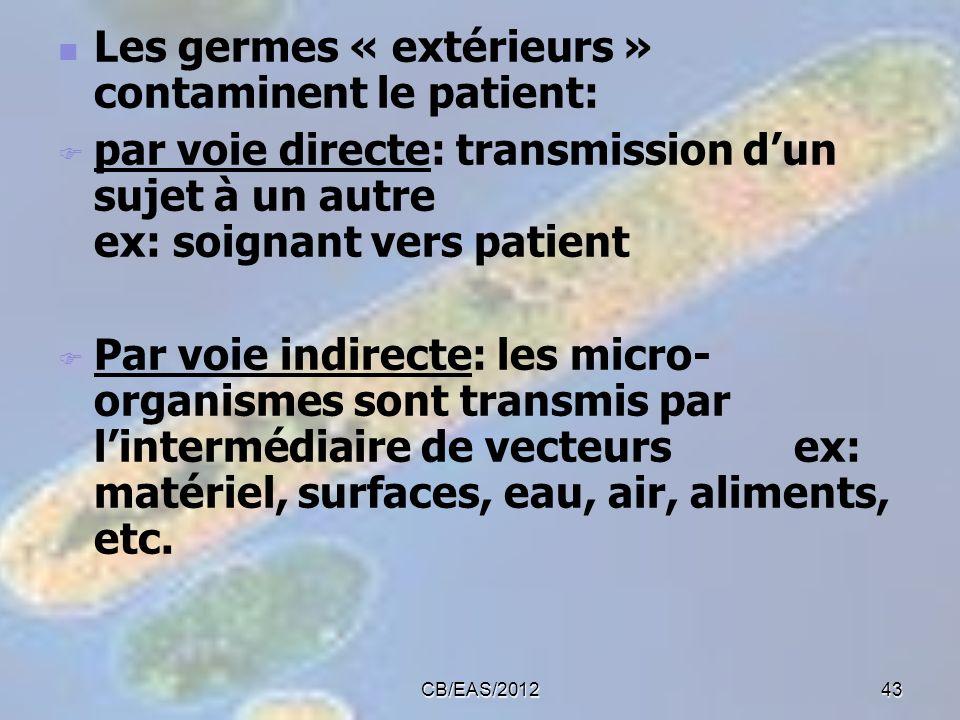 Les germes « extérieurs » contaminent le patient: par voie directe: transmission dun sujet à un autre ex: soignant vers patient Par voie indirecte: le