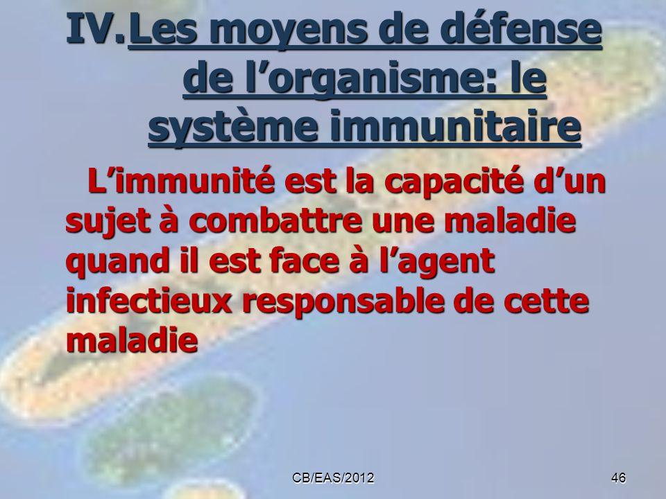 IV.Les moyens de défense de lorganisme: le système immunitaire Limmunité est la capacité dun sujet à combattre une maladie quand il est face à lagent
