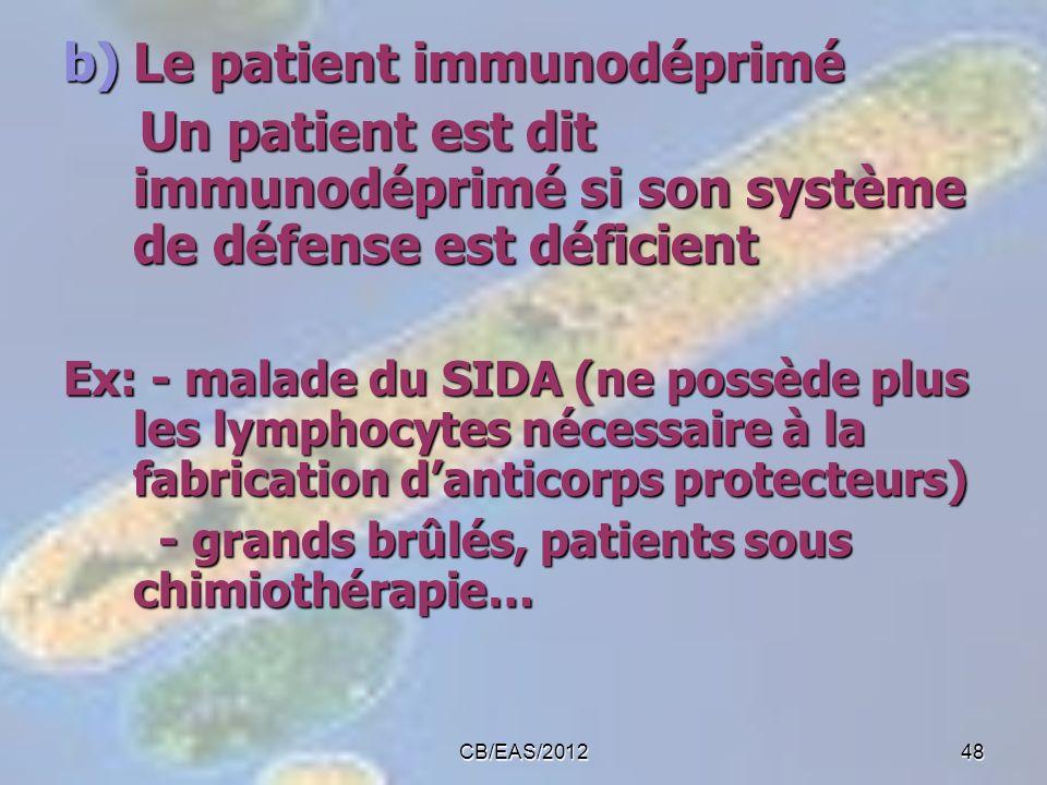 b)Le patient immunodéprimé Un patient est dit immunodéprimé si son système de défense est déficient Un patient est dit immunodéprimé si son système de