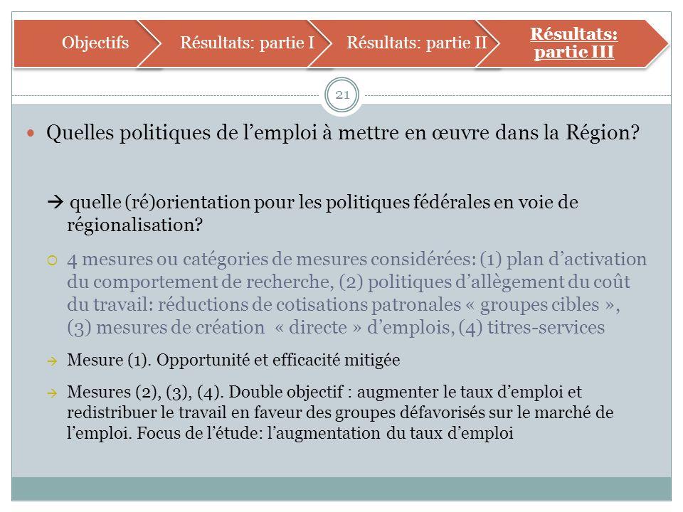 Quelles politiques de lemploi à mettre en œuvre dans la Région.