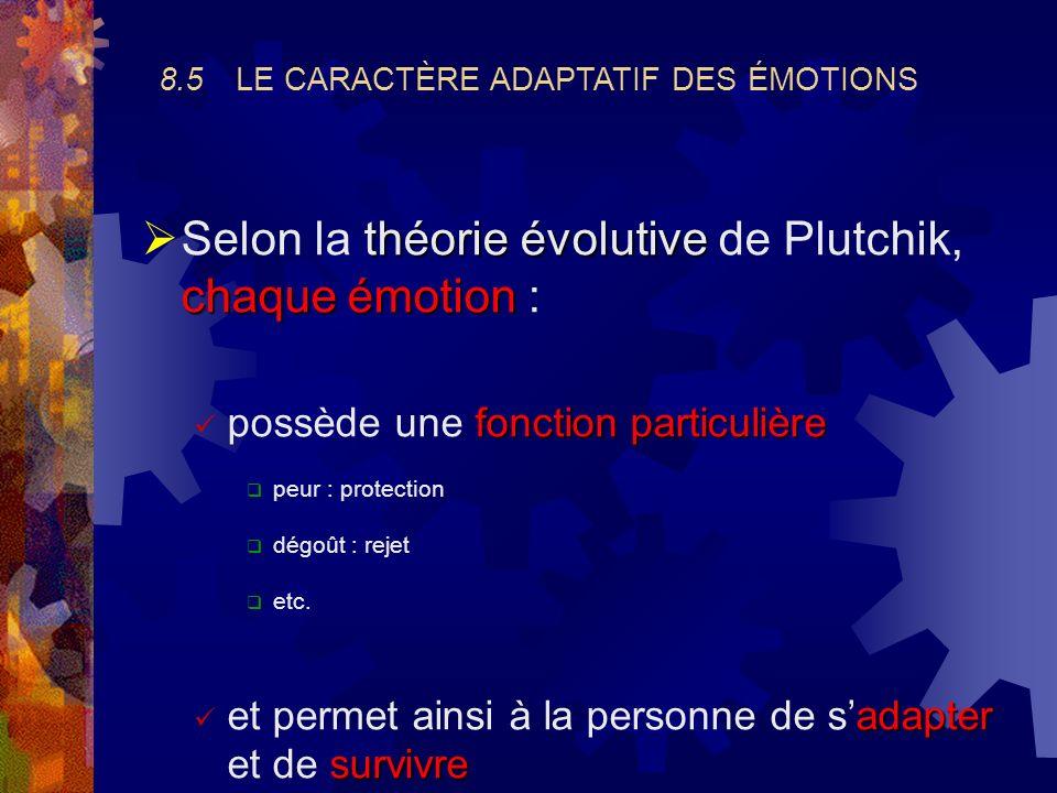 8.3 LÉVENTAIL DES ÉMOTIONS HUMAINES Éventail assez large et difficile à classifier Plutchik (1980) a proposé un modèle intéressant Cf. fig. 8.4 & 8.5