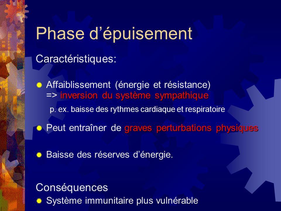 Phase de résistance Caractéristiques: Système sympathique et endocrinien : – élevés que lors de la phase dalarme, mais + élevés que la normale Accrois