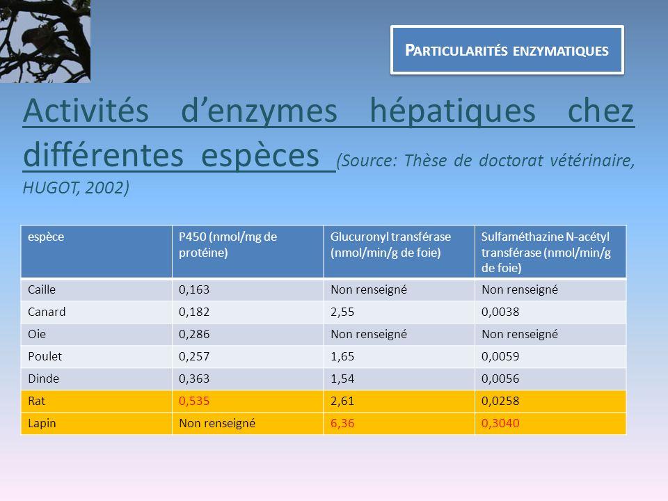 P ARTICULARITÉS ENZYMATIQUES Activités denzymes hépatiques chez différentes espèces (Source: Thèse de doctorat vétérinaire, HUGOT, 2002) espèceP450 (n
