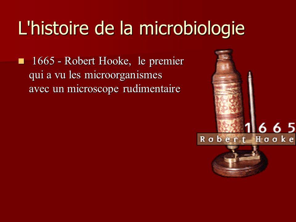 L'histoire de la microbiologie 1665 - Robert Hooke, le premier qui a vu les microorganismes avec un microscope rudimentaire 1665 - Robert Hooke, le pr