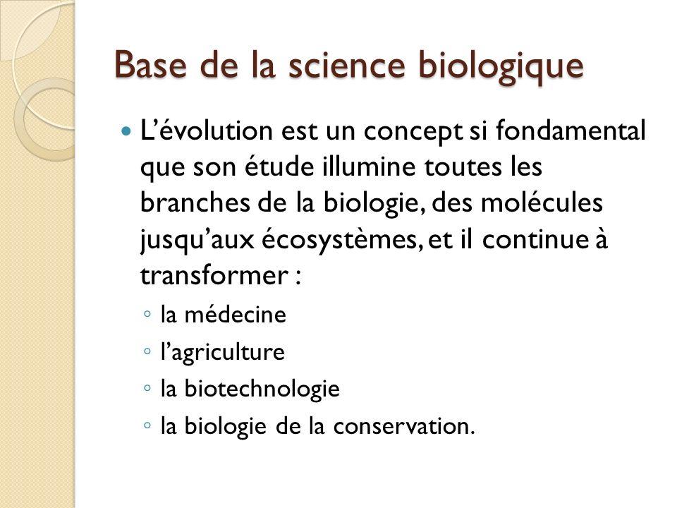 Base de la science biologique Lévolution est un concept si fondamental que son étude illumine toutes les branches de la biologie, des molécules jusqua
