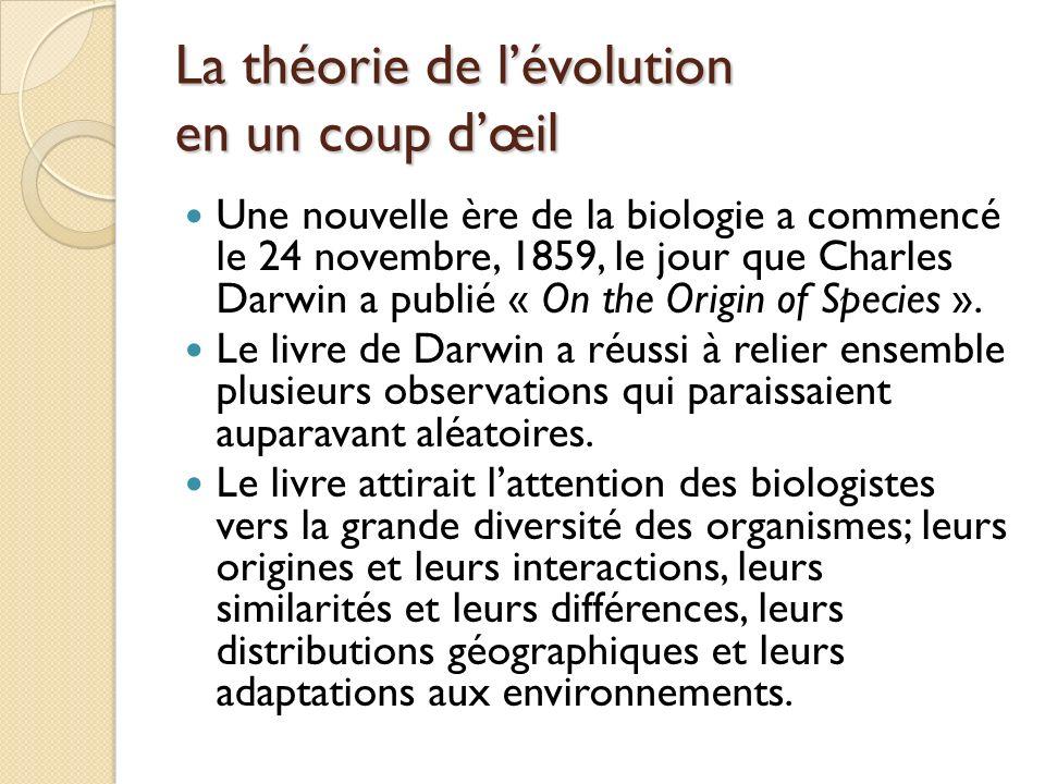 La théorie de lévolution en un coup dœil Une nouvelle ère de la biologie a commencé le 24 novembre, 1859, le jour que Charles Darwin a publié « On the