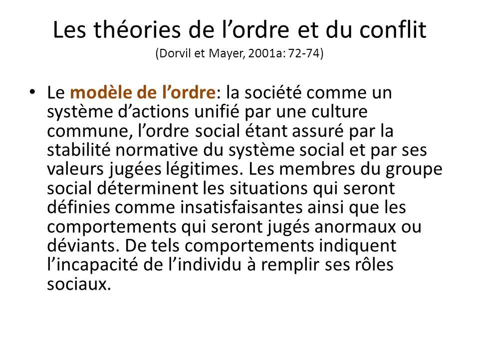 Les théories de lordre et du conflit (Dorvil et Mayer, 2001a: 72-74) Le modèle de lordre: la société comme un système dactions unifié par une culture commune, lordre social étant assuré par la stabilité normative du système social et par ses valeurs jugées légitimes.