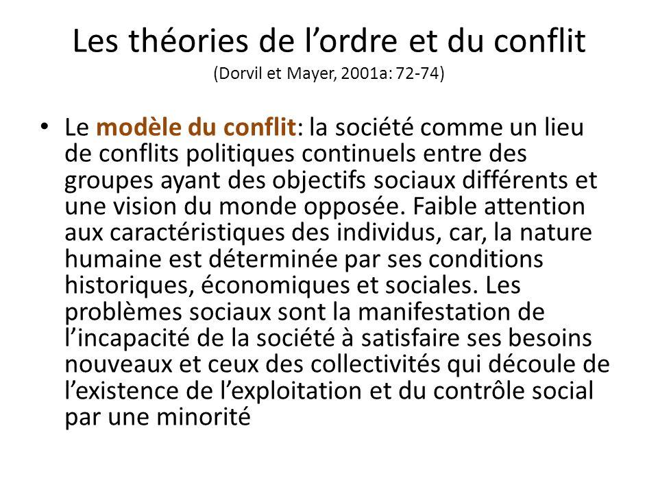 Les théories de lordre et du conflit (Dorvil et Mayer, 2001a: 72-74) Le modèle du conflit: la société comme un lieu de conflits politiques continuels entre des groupes ayant des objectifs sociaux différents et une vision du monde opposée.