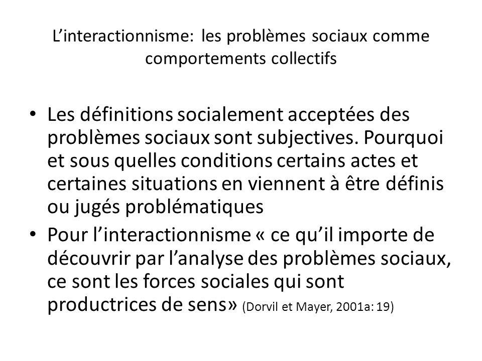 Linteractionnisme: les problèmes sociaux comme comportements collectifs Les définitions socialement acceptées des problèmes sociaux sont subjectives.