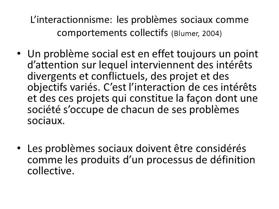 Linteractionnisme: les problèmes sociaux comme comportements collectifs (Blumer, 2004) Un problème social est en effet toujours un point dattention sur lequel interviennent des intérêts divergents et conflictuels, des projet et des objectifs variés.