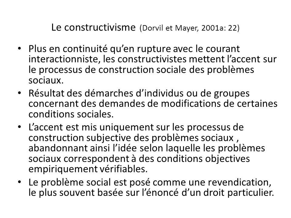 Le constructivisme (Dorvil et Mayer, 2001a: 22) Plus en continuité quen rupture avec le courant interactionniste, les constructivistes mettent laccent sur le processus de construction sociale des problèmes sociaux.