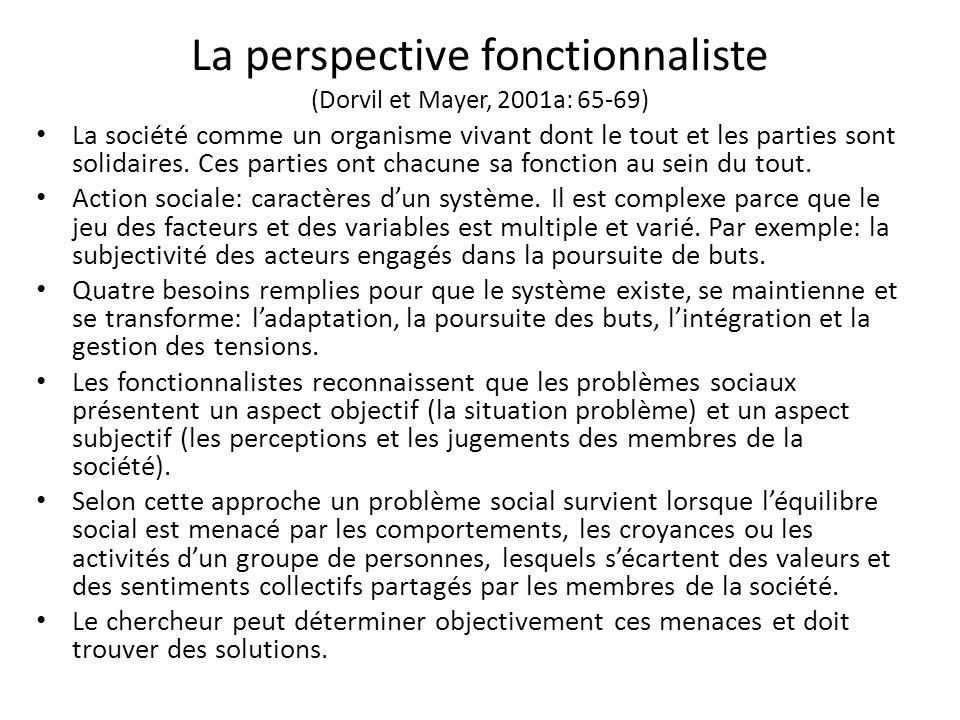 La perspective fonctionnaliste (Dorvil et Mayer, 2001a: 65-69) La société comme un organisme vivant dont le tout et les parties sont solidaires.